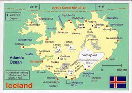 1 Map Of Iceland * 1 Ansichtskarte Mit Der Landkarte Von Island *