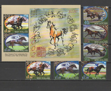 New Zealand 2002 Horses, Chinese Lunar Year Of The Horse Set Of 6 + S/s MNH