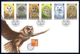 Isle Of Man Sc# 727-732 FDC 1997 Owls - Man (Ile De)