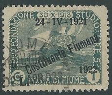 1922 FIUME USATO COSTITUENTE FIUMANA 1 COR - P62-3 - Occupation 1ère Guerre Mondiale