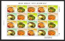 Korea Sc# 2056 MNH Pane/20 2001 Food - Korea (Zuid)