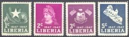 Liberia Sc# 305-308 MH 1947 1c-5c Cent. Of Independence - Liberia