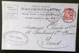 FRANCE Carte Publicitaire Societe Moderne D'alimentation FELIX POTIN  Datée  4/7/1906 - Alimentation