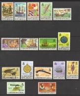 St. Kitts Nevis Sc# 206-222 MH & Used 1970 Pirates, Frigate Bay & Caravels, 16th Century - St.Kitts-et-Nevis ( 1983-...)