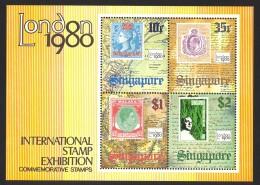 Singapore Sc# 352a MNH 1980 10c-$2.00 Straits Settlements, Old Sinapore Map, London 1980 Emblem - Singapore (1959-...)