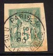 SAGE SUR ENTIER POSTAL DECOUPE - CAD PARIS RUE DE STRASBOURG - 1849-1876: Classic Period