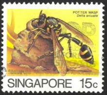 Singapore Sc# 455a Used 1986 15c Defs/Insects Redrawn - Singapour (1959-...)
