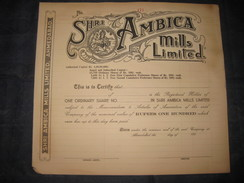 India 1950's Shri Ambica Mills Limited Share Certificate Hindu Goddess # FB011 - Industry