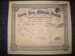 India 1950's Guest Williams Limited Share Certificate + Revenue # FB10 - Industry