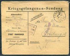 1918 France Kriegsgefangenen, Prisonniers De Guerre. Censor POW Feldpost Barraux Isere Cover - Freiburg, Germany