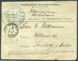 1916 France Kriegsgefangenen, Prisonniers De Guerre. Censor Le Puy En Velay Loire Cover - Freiburg, Germany