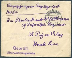 1916 Germany Dusseldorf Kriegsgefangenen, Prisonniers De Guerre Censor Cover - Uzes Le Puy En Velay, France PG Vise