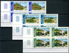 """COMORES  1975  MNH   -  """" PAYSAGES """"  -   3 Blocs De 4 VAL. COINS DATES"""