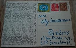 49   CARTOLINA POSTALE SIRACUSANA L.30 + L.10 MICHELANG. + L.20 ANNO INTER.LE TURISMO USATO PER LA JUGOSLAVIA - 6. 1946-.. Repubblica