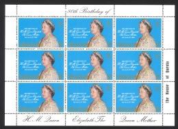 Tristan Da Cunha Sc# 277 MNH Pane/9 1980 15p Queen Mother Elizabeth Birthday Issue - Tristan Da Cunha