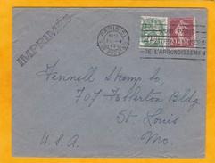 1920 - Enveloppe De Paris à Saint Louis, USA  - Tarif Imprimés 25 C Type Blanc Et Semeuse - OMEC Arrondissement