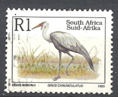 SUD AFRICA   1993 Endangered Fauna   LATIN INSCRIPTION    USED  Bugeranus Carunculatus - Sud Africa (1961-...)