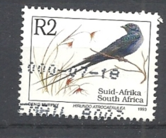 SUD AFRICA   1993 Endangered Fauna   LATIN INSCRIPTION    USED  Hirundo Atrocaerulea - Sud Africa (1961-...)