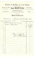 Note D'Envoi Datée Du 5/2/1906 De Jean Manteau Encadreur R.du Méridien Pour Mr Habitant Chssée D'Haecht PR4152 - 1900 – 1949