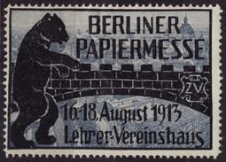 BEAR - BERLIN Paper Exposition / 1913 Germany - Cinderella / Label / Vignette - MH