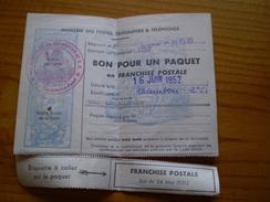 183 ème Compagnie De Réparation De Division Blindée CRDB.Bon Pour Un Paquet En Franchise Postale.Tampon & Griffe - Franchise Militaire (timbres)