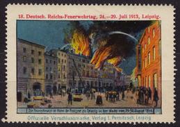 Firemen / Fire-fighter DAY - Leipzig 1913 GERMANY - LABEL CINDERELLA VIGNETTE