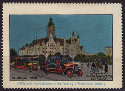 Firemen / Fire Engine / Fire-fighter DAY - Leipzig 1913 GERMANY - LABEL CINDERELLA VIGNETTE