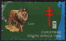 LION - South Africa RSA 1968 / TBC Tuberculosis / Christmas Candle / Charity Stamp - Label Cinderella Vignette