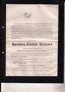HASSELT Caroline-Amélie BECKERS Veuve De Simon-Antoine GOETSBLOETS 1801-1882 Doodsbrief CROOMBERGHS PALMERS - Overlijden