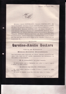 HASSELT Caroline-Amélie BECKERS Veuve De Simon-Antoine GOETSBLOETS 1801-1882 Doodsbrief CROOMBERGHS PALMERS - Obituary Notices