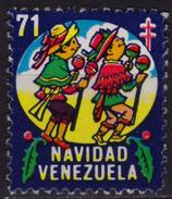 INDIAN Dance Costume - 1971 Venezuela - NAVIDAD Christmas Tuberculosis Charity Stamp Label Cinderella Vignette - Used - American Indians