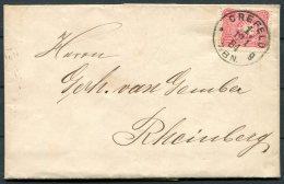 1884 Germany Crefeld Entire. Rheinberg Reg. Bez. Dusseldorf