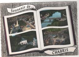 CPSM 36 - Souvenir De CHABRIS Multivues Pont Vue Générale Moulin Place Hôtel De Ville - Peu Courante - France