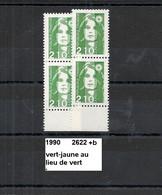 Variété Sur Paire De 1990 Neuf** Y&T N° 2622 Nuance