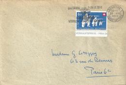 Brief  Lausanne - Paris  (PP-Frankaur / Flagge Comptoir)           1950