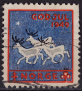 DEER - 1949 NORWAY Christmas GOD JUL TBC Tuberculosis Charity Stamp USED Label Cinderella Vignette