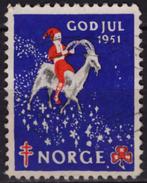 Yule Goat - 1951 NORWAY Christmas GOD JUL TBC Tuberculosis Charity Stamp USED Label Cinderella Vignette