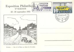 """Sonderkarte  """"Exposition Philatélique Yverdon""""                  1951"""