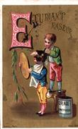 CHROMO HUMOUR ALPHABET LITHO AUBRY SERIE 723 LETTRE E COMME ETUDIANT RASEUR - Otros