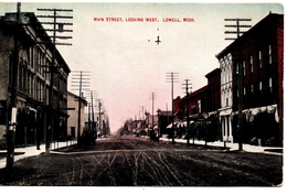 LOWELL, Michigan, USA, Dirt Main Street & Stores, Pre-1920 Postcard - Etats-Unis