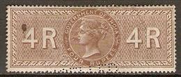 INDE Anglaise    -   FISCAL   -   4 R.  Brun .   Oblitéré.   Perforé  /  Perfin.