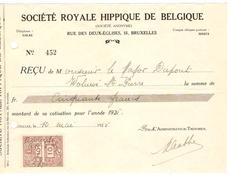 Reçu Datée Du 12/5/1925 De Bruxelles 50 Frs Société Royale Hippique De Belgique TP Fiscal PR4160 - 1900 – 1949