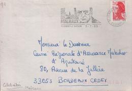 """Lettre 91 Verrières Le Buisson 3-7 1989  Flamme =o """" André MALRAUX"""