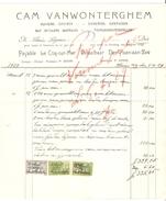 Facture Datée De Haan A/z 5/4/1929 De Vanwonterghem Plombier Zingueur TP Fiscaux PR4161 - 1900 – 1949