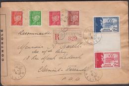 LETTRE  VICHY POUR CLERMONT-FERRAND  OUVERT PAR LA CENSURE DU 16/11/1942  TIMBRES DE LA LÉGION TRICOLORE AVEC INTERVALLE