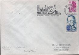"""Lettre 91 Verrières Le Buisson 10-5 1986  Flamme =o """" André MALRAUX"""" Concordante"""