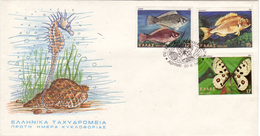 GRECE - 1981 - 2 FDC , Papillons , Coquillages , Poissons - TB ( Enveloppes Non Collées ) - FDC