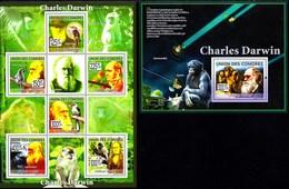 COMOROS COMORES 2009. CHARLES DARWIN. SPACE MONKEYS BIRDS ... SH+SS**