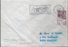 """Lettre 94 Villejuif Ppal 20-4 1985  Flamme =o """" Son Théâtre Romain-Rolland """" Concordante"""
