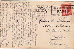 """Olympiade 1924 PARIS :PK PZ (Fr) """"PARIS / 23.II.1924 / DEPART"""" """"JEUX OLYMPIQUES / PARIS / 1 9 2 4"""""""